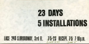 23 Days / 5 Installations
